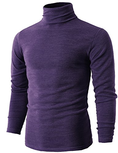 H2H Mens Basic Knitted Turtleneck Pullover Sweater with Lightweight Fabric Purple US XS/Asia M (KMTTL028)