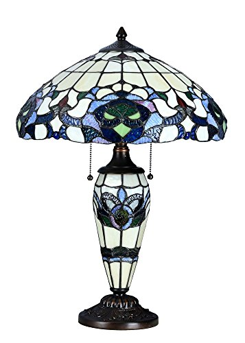 Niloah NH16203 Tiffany Style Table Lamp 16-Inch Shade with Lighted Base