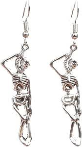 Sterling Silver 925 Plated Retro human skeleton bone Design Dangle Drop Earring
