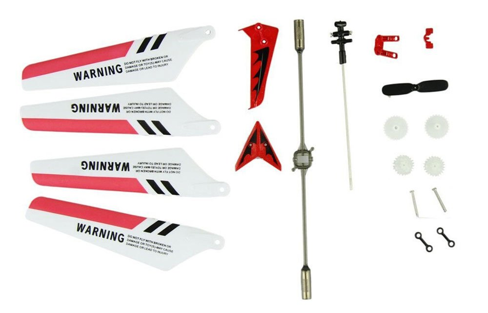 Tail Props Main Shaft,Tail Decorations Gear Set,Connect Buckle-Red Set Full Set Replacement Parts for Syma S107 RC Helicopter Main Blades Balance Bar