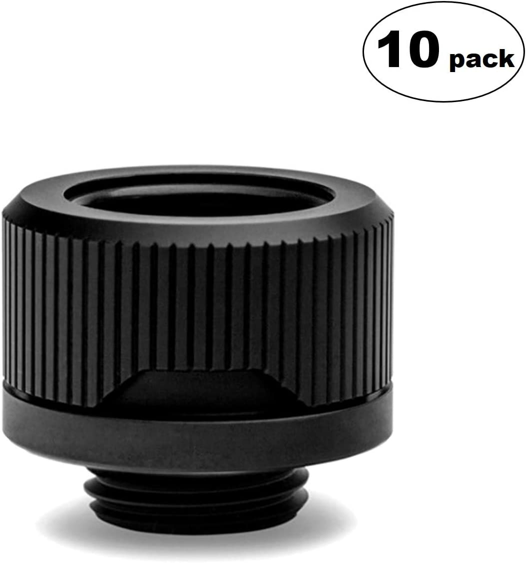 EKWB EK-Quantum Torque HTC-16 Compression Fitting for EKWB Rigid Tubing, 16mm OD, Black, 10-Pack