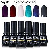 dark nail polish set - Nail Polish UV LED Soak Off Nail Art Gel Manicure Gift Set 6PCS FairyGlo 7ml 00017