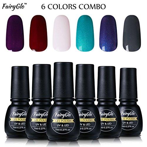 fairyglo-6-pcs-gel-nail-polish-uv-led-soak-off-manicure-nail-art-kit-beauty-decor-collection-gift-se
