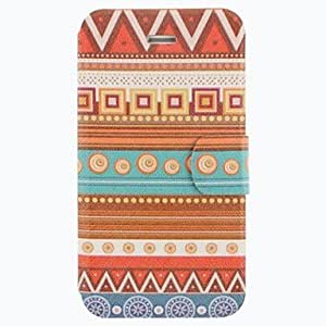 TOPQQ National Wind Geometric Pattern Clamshell PU Leather Full Body Case with Card Slot for iPhone 4/4S