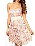Mantos Women's Tube Fitted Lace Strapless Evening Cocktail Prom Party Mini Dress