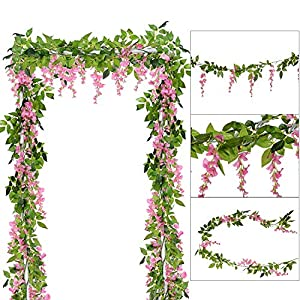 4Pcs 6.6Ft/Piece Artificial Flowers Silk Wisteria Garland-Dearhouse Artificial Wisteria Vine Ratta Silk Hanging Flower for Home Garden Outdoor Ceremony Wedding Arch Floral Decor (Pink) 10