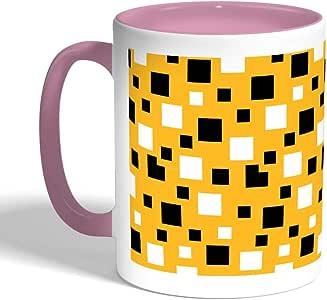 Squares Printed Coffee Mug, Pink Color