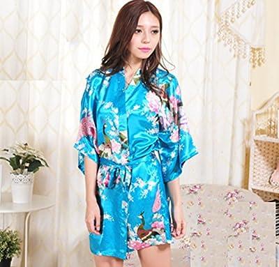 WEIYI Japan Style Silk Satin Short Peacock Blossoms Bathrobes Kimono Yukata (S)