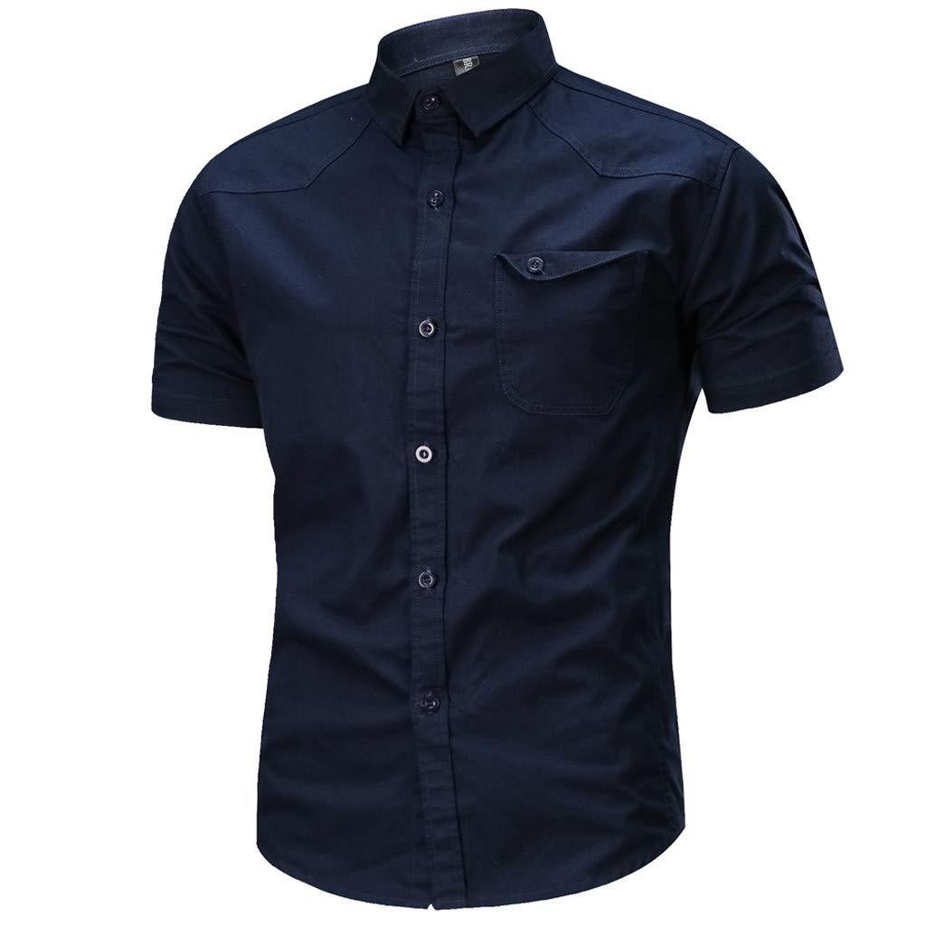 Palarn Mens Fashion Sports Shirts Mens Casual Fashion Military Pure Color Cotton Short Sleeve Loose T-Shirt Tops