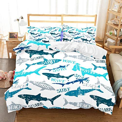 (APJJQ Navy Blue/Grey Shark Pattern 100% Microfiber US Twin Kids Bedding Duvet Cover Sets(1 Duvet Cover 1 Pillow Shams) White Quilt Bedding Sets for Kids Boys with Surf Beach Wave Prints)