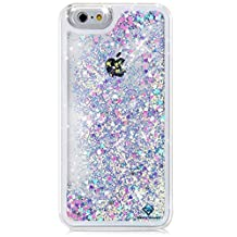 iPhone 6s case,iphone 6 case, Myckuu?Liquid, Cool Quicksand Moving Stars Bling Glitter Floating Dynamic Flowing Case Liquid Cover for Iphone 6 (PK+BL heart)
