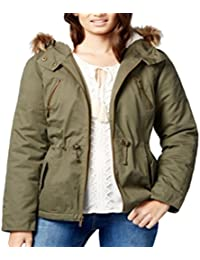 Hooded Parka with Faux-Fur Trim, Olive Xl