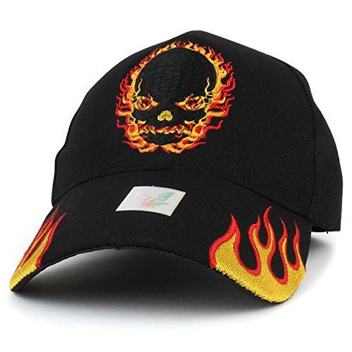 (Trendy Apparel Shop Fire Skull Embroidered Flame Bill Baseball Cap - Black)