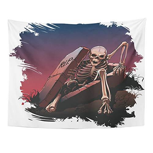Emvency Tapestry Mandala 60x80 Inch Home Decor Awake Skeleton from Coffin Body Bones Dark Dead Death Evil Grave for Bedroom Living Room Dorm -