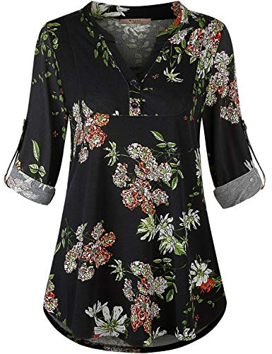 Miusey Floral Tops for Women,Flowy Tunics 3/4 Sleeved Shirt Plus Size Loose Draping Blouses Juniors Casual Clothes Breathable Cozy Perfect Vacation Vintage Print Flower Black XXL