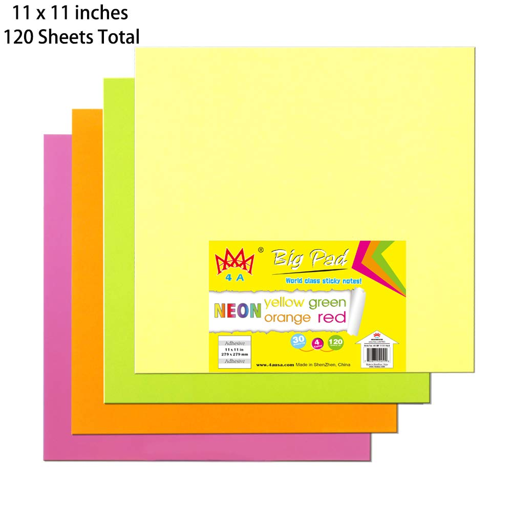 4A Sticky Big Pad,11 x 11 in,Large Size,Neon Yellow,Orange,Red and Green,Self-Stick Notes,30 Sheets/Pad,4 Pad/Pack,4A BP 1111-Nx4 by AAAA 4A