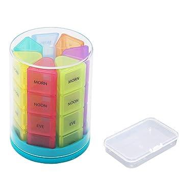 Pastillero Semanal 7 días Organizador de Pastillas Diario Grandes compartimentos BPA gratis caja de medicina para