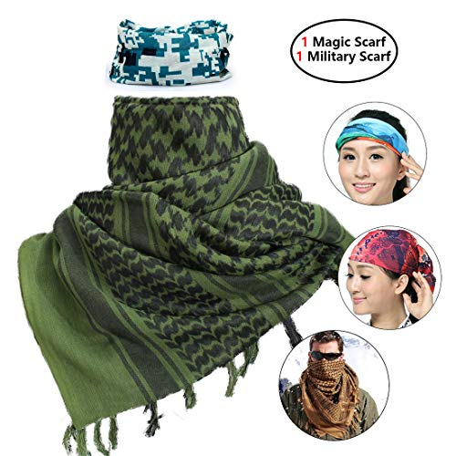 iMucci 43'x43' Arab Tactical Scarf 100% Cotton - with Magic Bandanas Desert Shemagh Military Keffiyeh Head Neck Wrap Scarfs for Men and Women (Green)