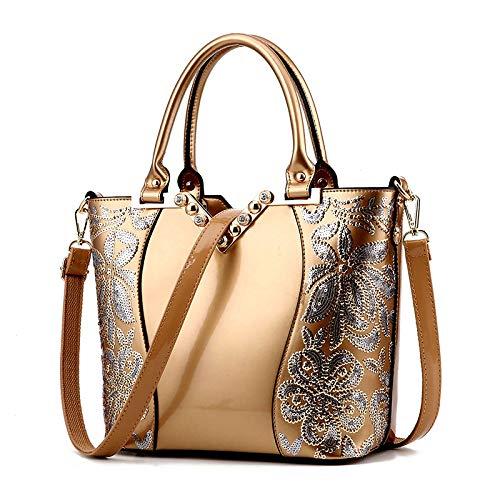 Kamierfas Leather 2018 Bag American Portable Bag Embroidery Luggage And Oro Black Female Bright Shoulder European hlh Fashion rojo r1dqU8rH