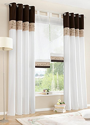 Uphome 1-Pair Bamboo Fabric Embroidered Window Curtain Panels - Stitching Color White Semi-light Window Treatments,57 x 88 (Window Treatment Ideas)