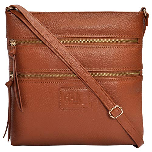 (Leather Crossbody Purses and Handbags for Women-Premium Crossover Bag Over The Shoulder Womens (Cognac Pebble))