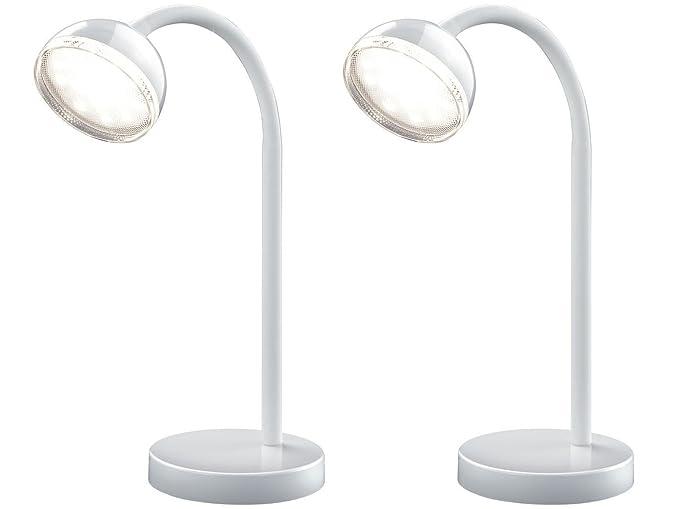 Juego de 2 lámparas led mesa/escritorio lámpara bolou Blanco con ...