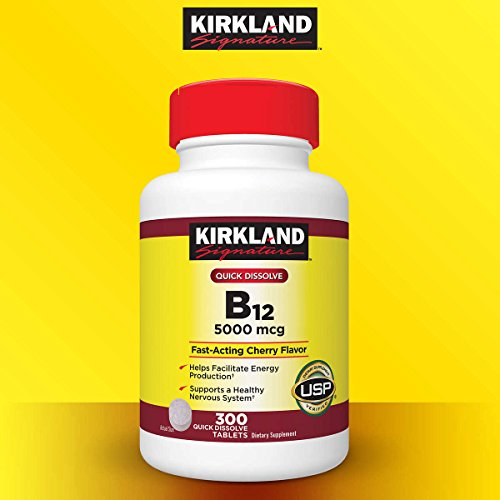 Kirkland Signature Quick Dissolve B-12 5000 mcg., 300 Tablets pack of 2