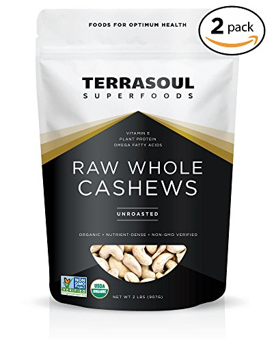 Terrasoul Superfoods Organic Raw Whole Cashews, 4 Pounds ()