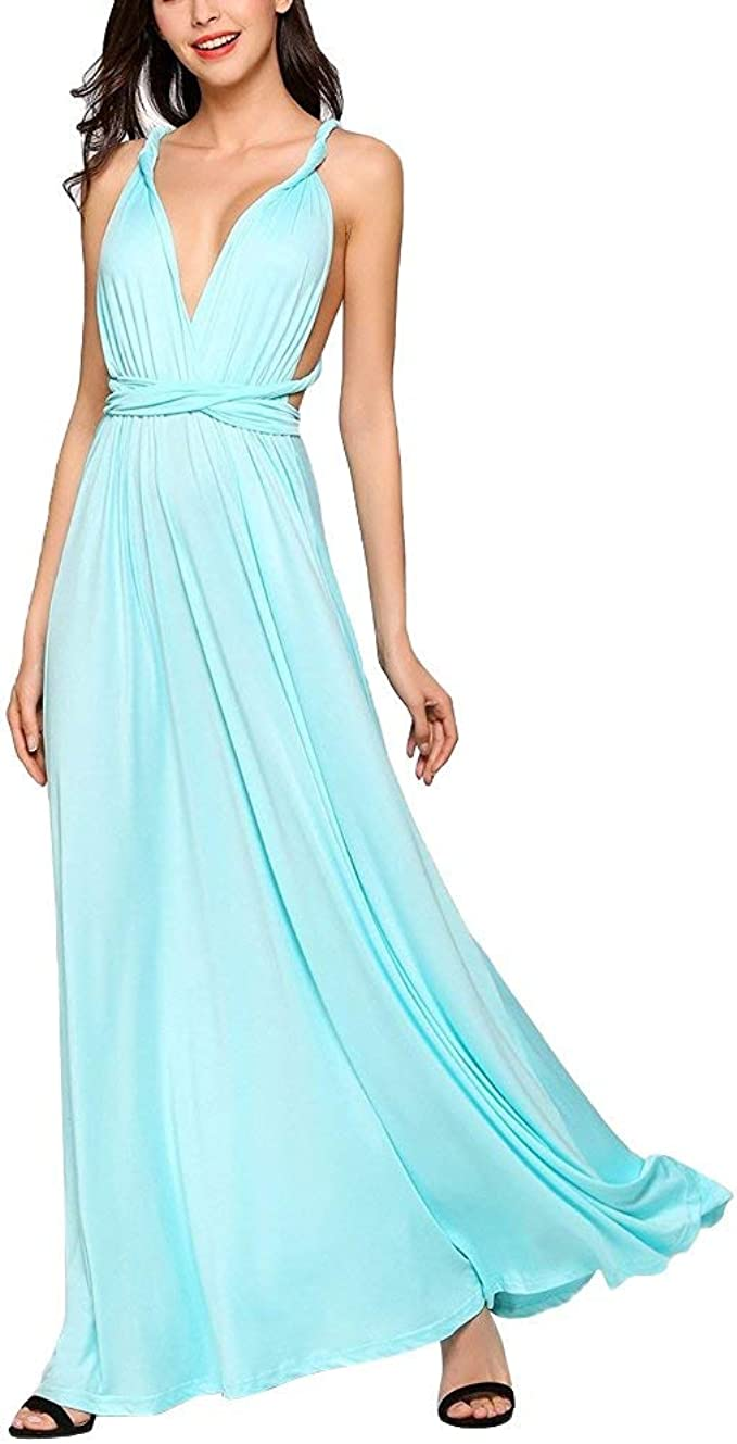 Kleider Abendkleider Lang Maxikleid Damen Cocktailkleid Multi-Way Ballkleid  V-Ausschnitt Rückenfrei Neckholder Schulterfrei für Festlich Hochzeit