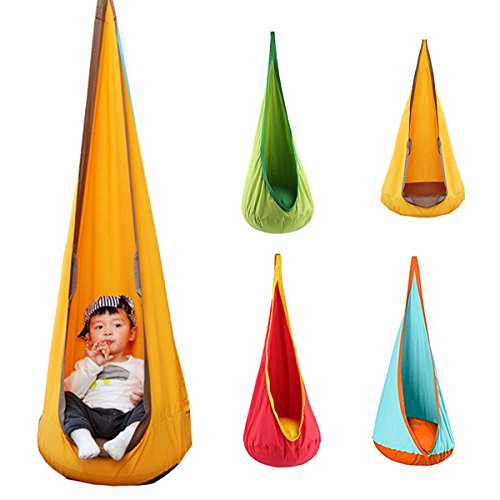 Coztoy Kids Child Pod Hanging Seat Hammock Swing Chair Nook 4 Color Optional, Green Optional Swing