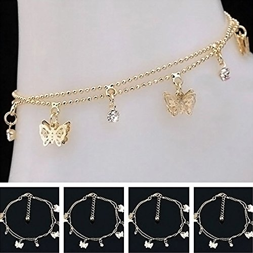 khim center shop Women Charm Gold Butterfly Ankle Chain Anklet Bracelet Foot Jewelry Sandal Beach by khim (Shop Butterfly)