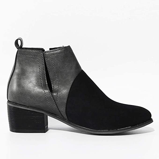 Low Heel Boots Black Wedge Heeled Chunky Sole Ankle Womens Wide Fit Size 7 NEW