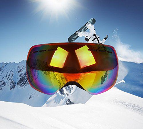 GAMT Ski Goggles Snowboard Snow anti-fog UV Spherical Lenses for Men Women - Sunglasses Uk Dragon