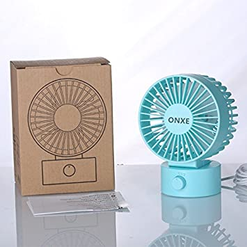 - Black Small Mini Table Desk Desktop Personal Fan Cooling for Room Office 2 Speed Modes Dual Blades Simulate Natural Wind, High Compatibility ONXE Quiet USB Desk Fan