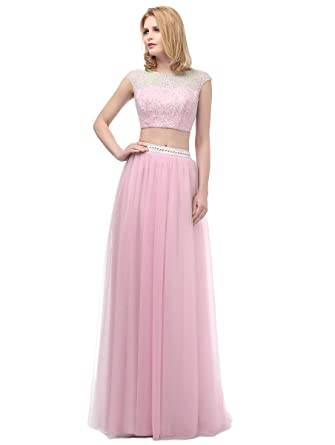 Callmelady Two Piece Long Prom Dresses With Appliqued Bodice & Beaded Waist (Pink, UK18