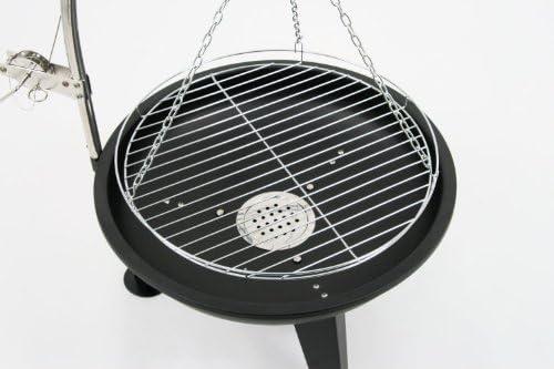 BBQ-Toro Gril pivotant | Ø 64 cm | Gril au Charbon de Bois avec Grille | Gril à manivelle | Noir | Gril sur Pied