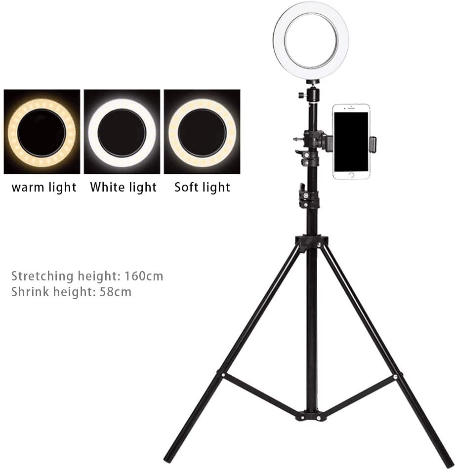 JIAX Outer Dimmable Tabletop Ring Light Kit for Photo Studio Portrait Video Shooting LED Dimmable Ring Video Light Color : Style 1 3 Light Modes,Phone Holders,Brightness