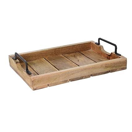 Vintage Retro marrón banco de madera bandeja regazo de servir bandeja de almacenamiento con asas Small