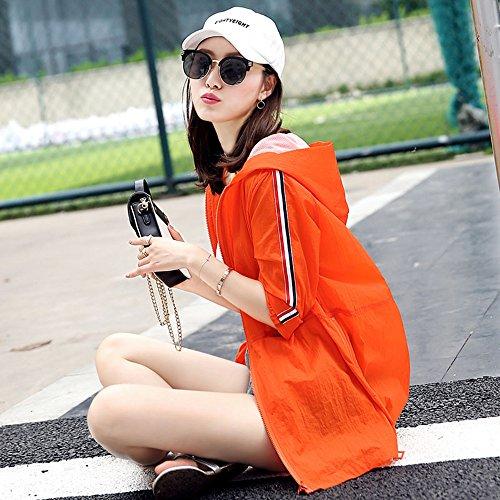 QFFL fangshaifu 女性フード付きファッションサンプロテクター/夏ロングセクションルーズカジュアルコート/シンスプライスサンスクリーンショール(4色展開) (色 : A, サイズ さいず : Xl xl)
