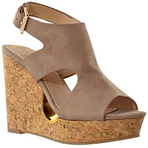 - Womens Platform High Heels Sandals Slingback Peep Toe Cutout Cork Wedge Shoes Taupe SZ 10