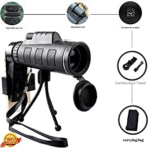 40X60 High Power Magnification Monocular Scope Telescope With Phone Holder and Tripod / Clear and Bright View / For Bird Watching / Wildlife / Hiking / Surveillance / Camping / Premium Quality.