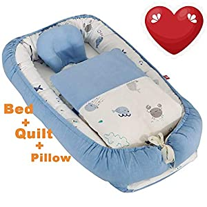 Baby Boy Nest Baby Lounger for Bed Newborn Infant Bassinet Co-Sleeping Portable Cribs with Ocean Animal for Bedroom/Travel Camping,Teal