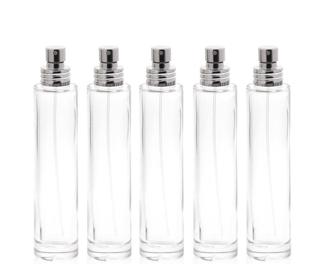 Parfüm-Zerstäuber, 30 ml Glas-Flakon für Parfum Kosmetex silber Aluminium-Zerstäuber, leer, 3x Silber +Trichter Parfüm-Zerstäuber