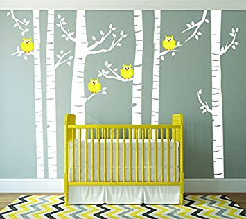 Yellow Owls And White Birch Tree Forest Wall Decal, Birch Tree Wall Vinyl  Sticker For Part 55