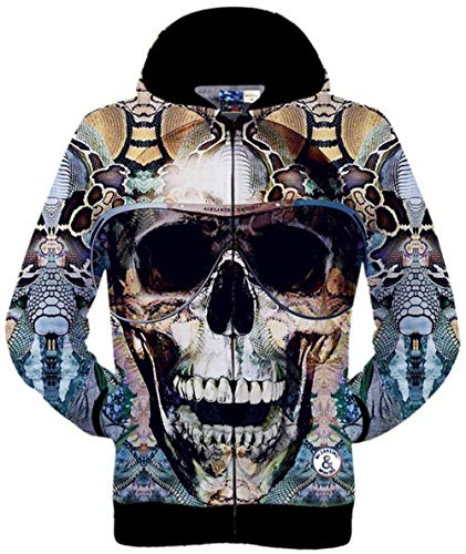 Digitale Outwear color Tasche Lunghe Con Stampa Hip Animal Maniche Cappuccio Xl 16 Size Colour Laterali Hop A Giacche Giovane Unisex 3d 7fZScqaww