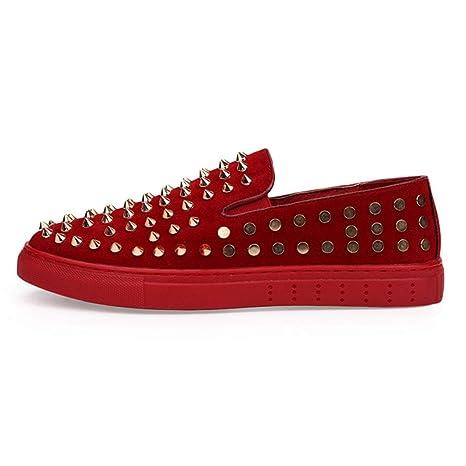 YAN Zapatos para Hombre Zapatos de Cuero de Gamuza Remaches de Invierno Mocasines y Zapatillas sin