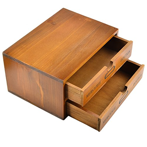 Storage Chest Box, Lingxuinfo Household 2-Drawer Wooden Storage Chest Box Office Desktop Organizers