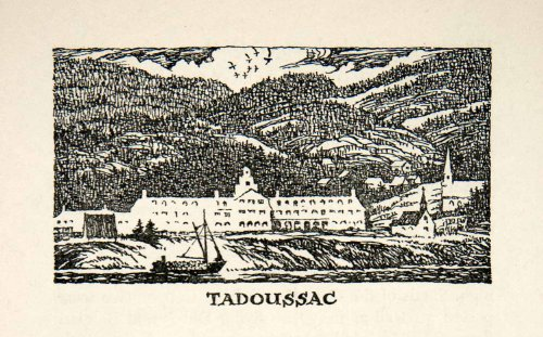 1947 Lithograph Tadoussac Quebec Canada Saguenay River Sail Boat St. Lawrence - Original In-Text - Oakley Canada