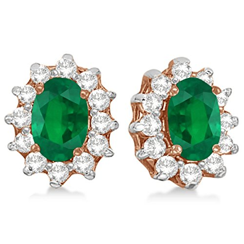 14k Gold Oval Emerald and Diamond Accented Earrings 2.05ct