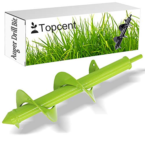 "Topcent Planter Drill Bit, 3"" x 10"" Garden Plant Flower Bulb Planting Auger Drill Bit, General Purpose Hex Shaft Soil Auger Drill, Enhanced Metal Drill Bit for Various Soil Types"